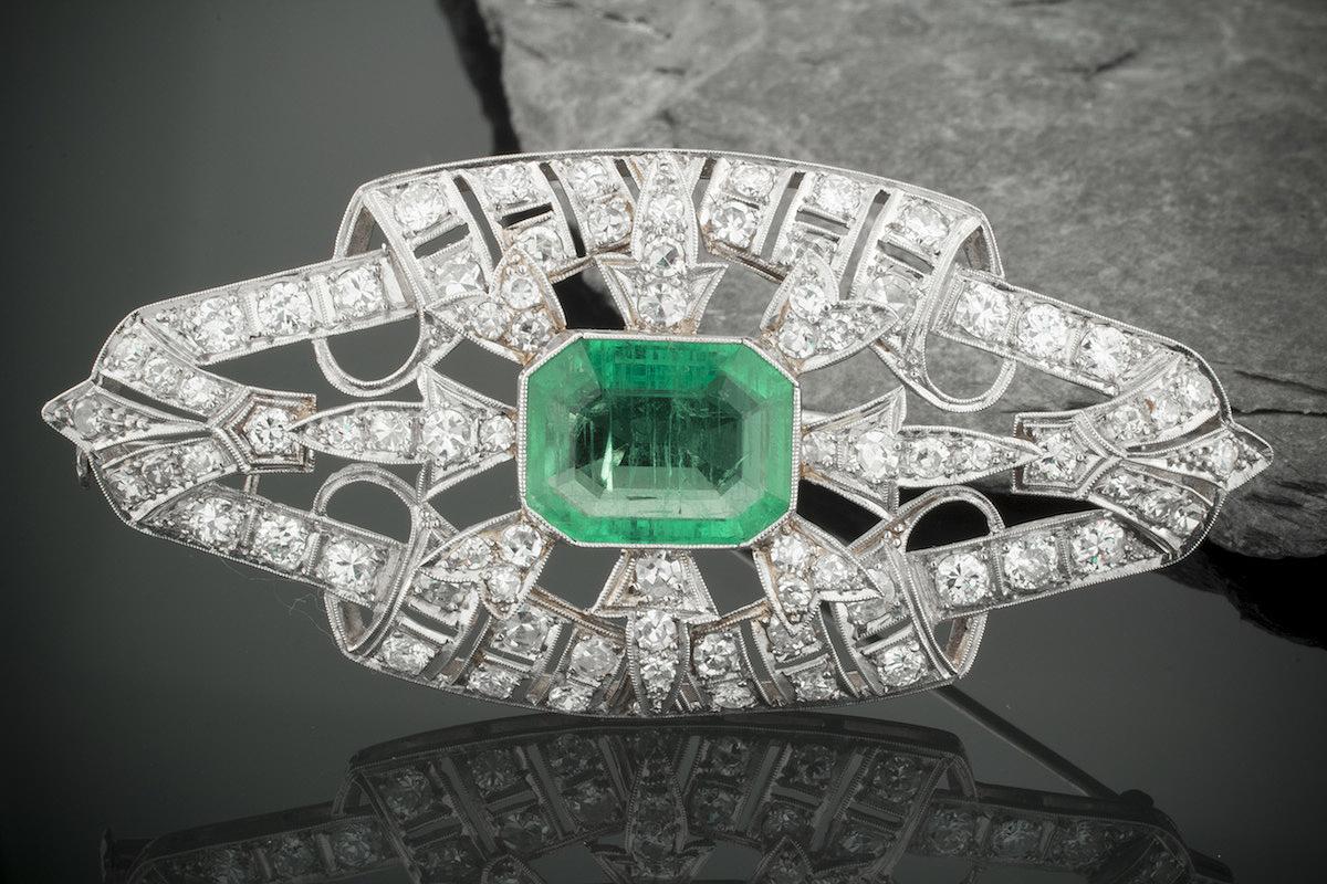 Schmuck art  Schmuck Art Deco Brosche / Nadel mit 3,50 Carat Diamanten 4 Carat ...