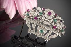 Rubin Diamant Brosche Mit Brillanten Brillianten Und Rubinen 750 Weißgold Nade* Uhren & Schmuck