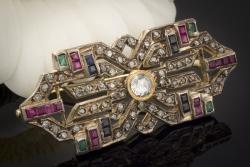 Uhren & Schmuck Ansteck Nadel Brosche Mit Smaragd Saphir Saphire Rubin Brillant Platin Echtschmuck