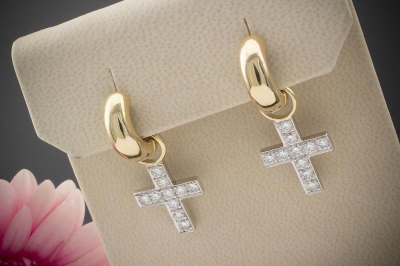 Qualität großer Verkauf Genieße am niedrigsten Preis Details zu Schmuck Kern 2in1 Ohrringe Creolen Kreuz Einhänger Brillanten  750er Gold Bicolor