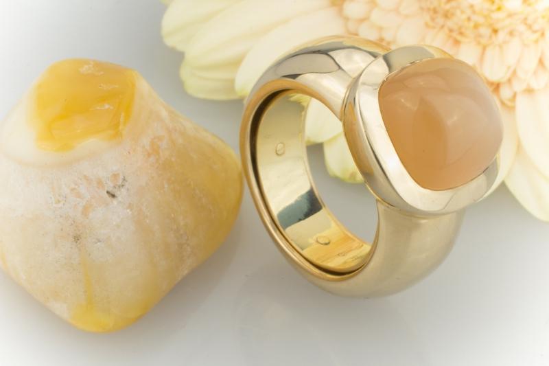 Goldring mit mondstein  schön Massiver 585 GOLD RING mit Mondstein InnenRING Gr 53 - 59