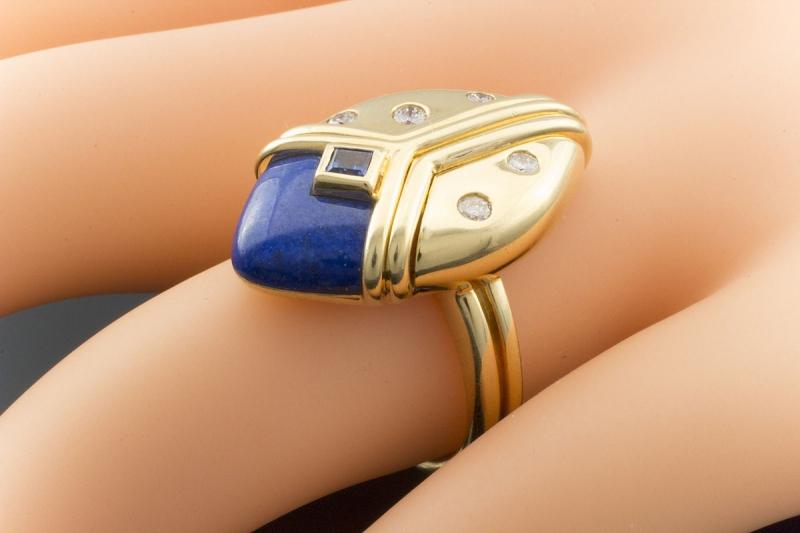Brillanten In Mit Blauer Und Ring 750er Gelbgold Gübelin Saphir Emaille fyvIb7Y6g