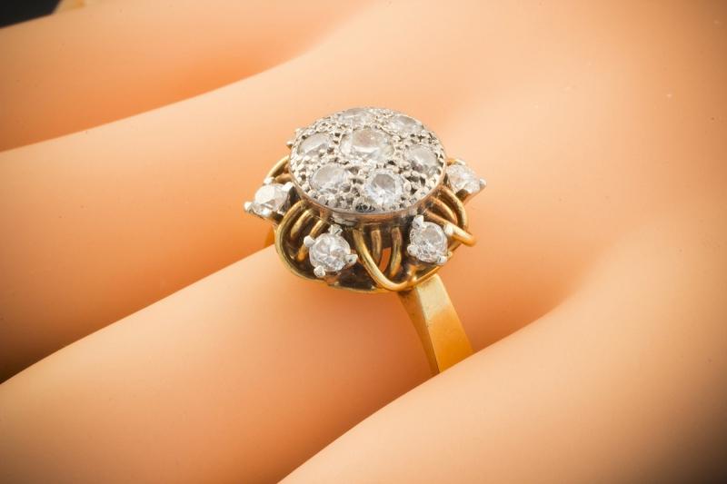 art deco brillantring ring mit brillanten 1ct in 750er gold 18 karat bicolor 61. Black Bedroom Furniture Sets. Home Design Ideas
