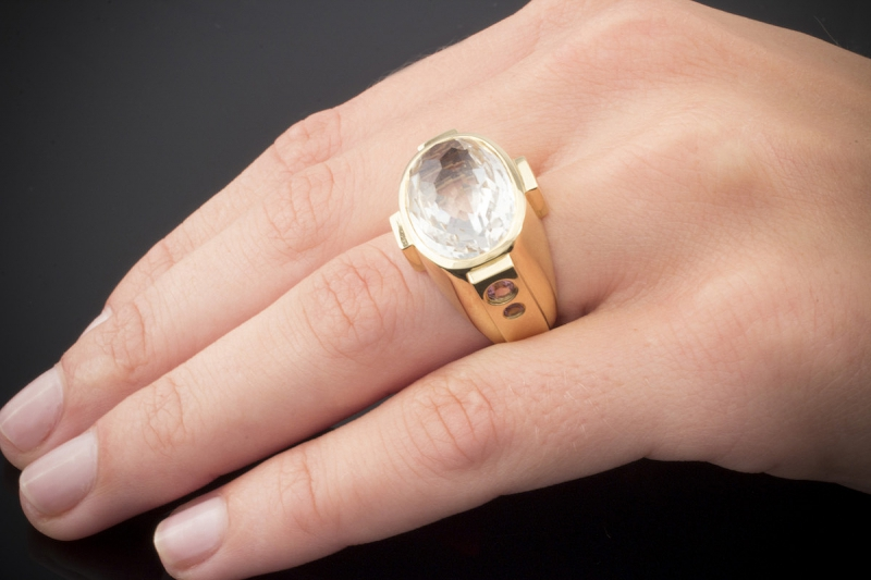 jette joop ring mit gro em quarz und pink turmalin in gelbgold 750 gr 54. Black Bedroom Furniture Sets. Home Design Ideas