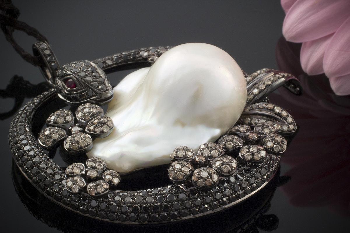 schmuck anh nger schlange monsterperle diamanten rubin 6ct. Black Bedroom Furniture Sets. Home Design Ideas